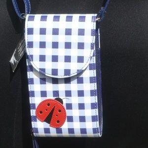 NWT Minicci Gingham Ladybug Crossbody Phone Purse